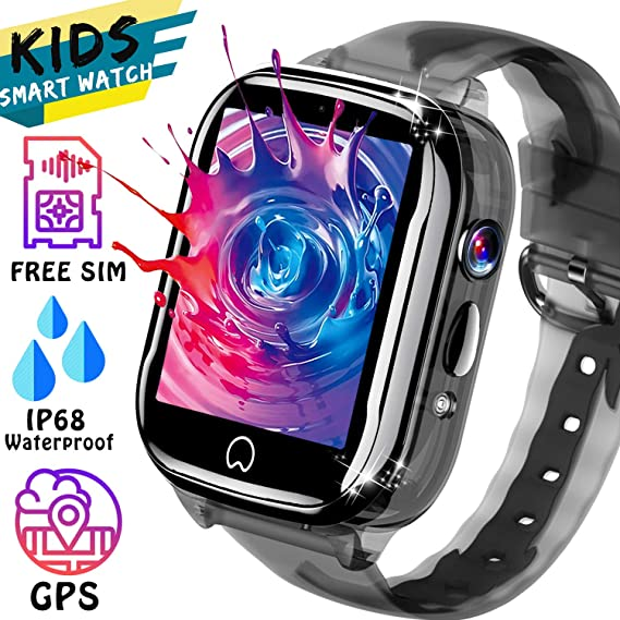 Kids Smart Watch GPS Tracker - [SIM Card Included] IP68 Waterproof Phone Smartwatch for Boy Girl with Two-Way Call SOS Games Camera Kid Wrist Watch ...
