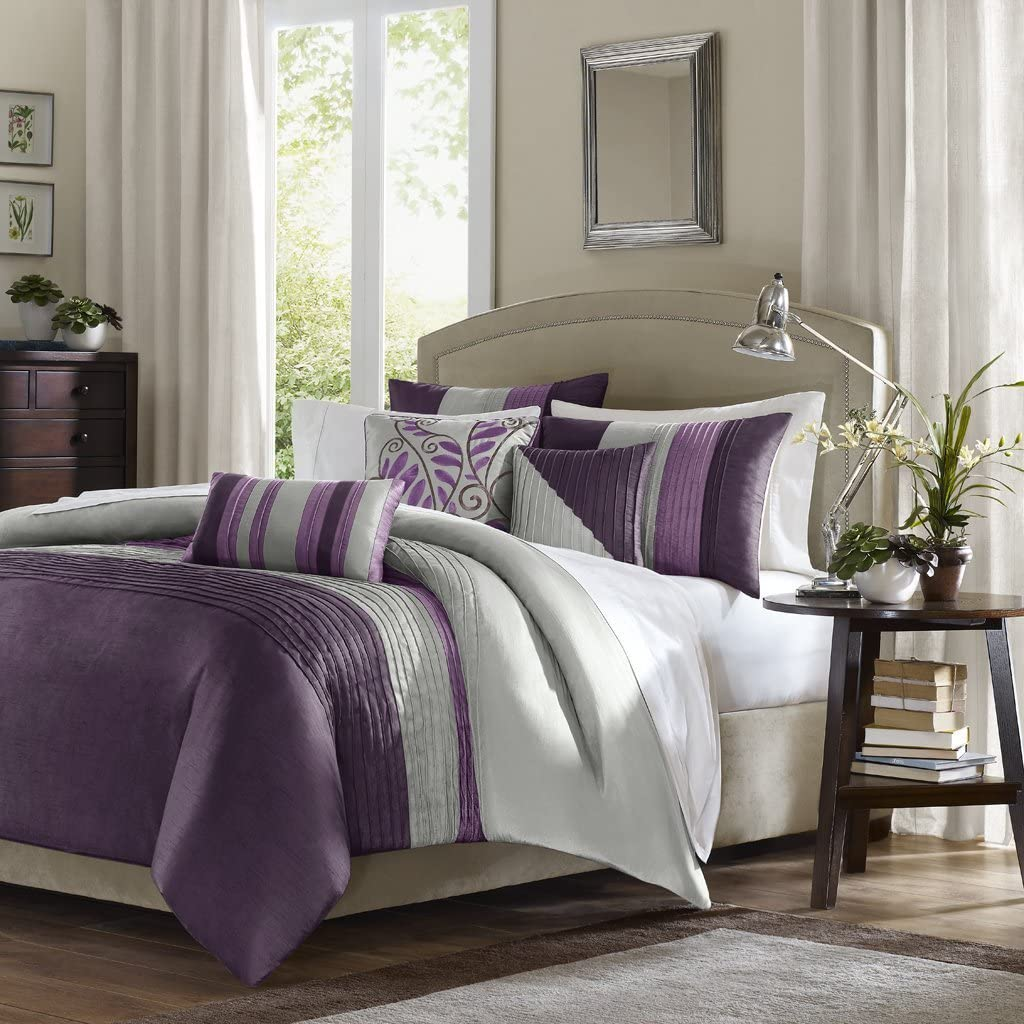 Madison Park Amherst Cal King Size-Purple, Grey, Stripes Duvet Set – 6 Piece – Ultra Soft Microfiber Light Weight Bed Comforter Covers, King King (Renewed)
