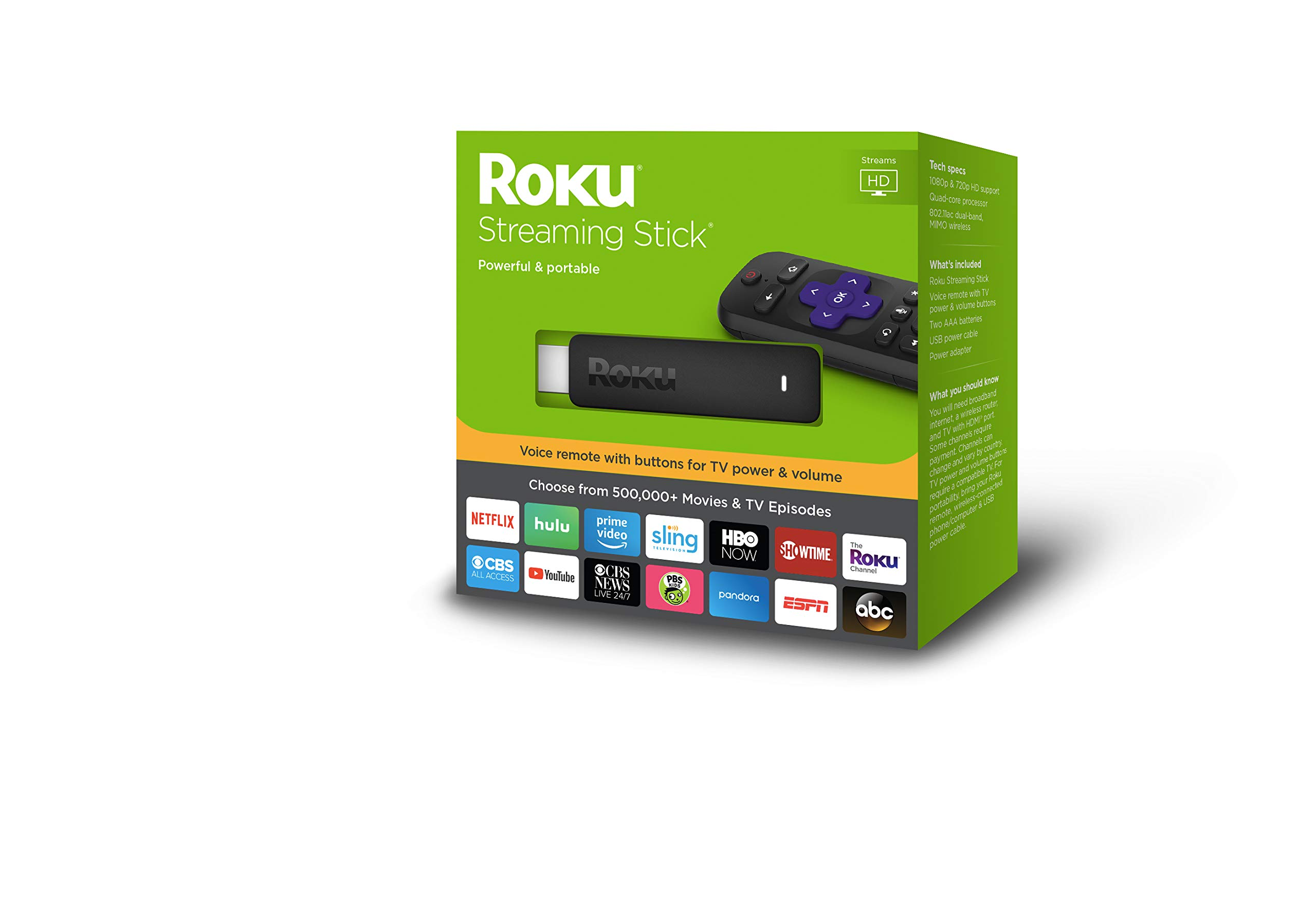 Roku Streaming Stick | Portable, Power-Packed Streaming Device with Voice Remote with Buttons for TV Power and Volume by Roku