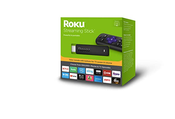 Roku Streaming Stick   Portable, Power-Packed Streaming Device with Voice  Remote with Buttons for TV Power and Volume