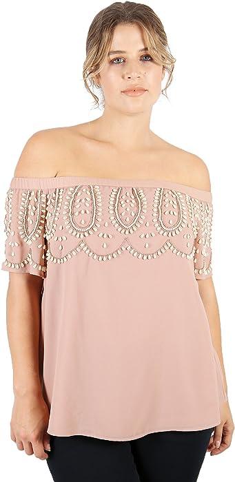 8cb80516606 Lovedrobe Luxe Womens Plus Size Mauve Embellished Bardot top (16): Amazon.co .uk: Clothing