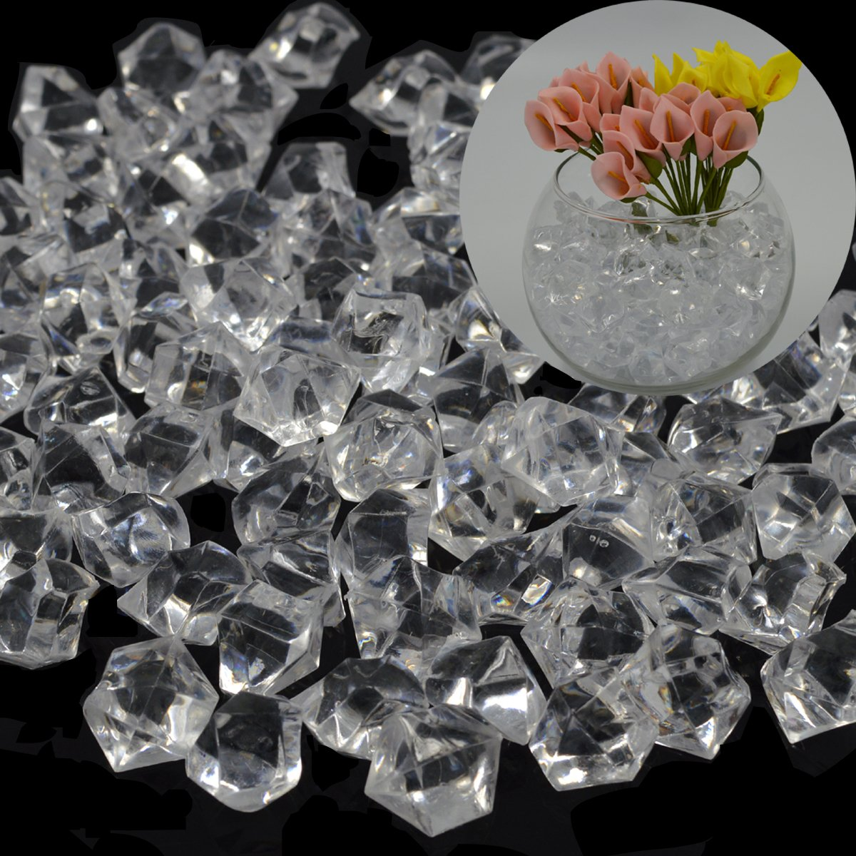 Metable 200 Pcs 1 Inch Clear Acrylic Ice Rocks Crystal Scatter Gems For Aquariums Vase Filler Home Office Table Decoration Kids Toys Wedding Party Favors