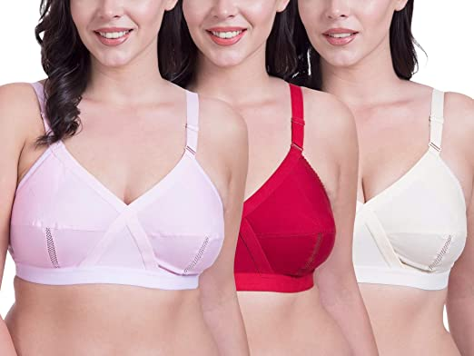 f1c1005a63d Rajnie Cross Fit Plus Size Non Padded Pink Red Beige Cotton Bra - (Pack of 3)   Amazon.in  Clothing   Accessories