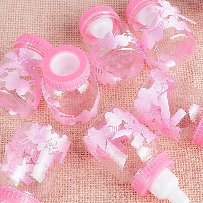 DEOMOR 48 x (4*4*8.5cm) Botella Cajas Bautizo Boda Fiesta Cumpleaños Nacimiento Baby Shower Candy Bar Caramelos Detalle Confeti Regalo Bombones Chuches ...