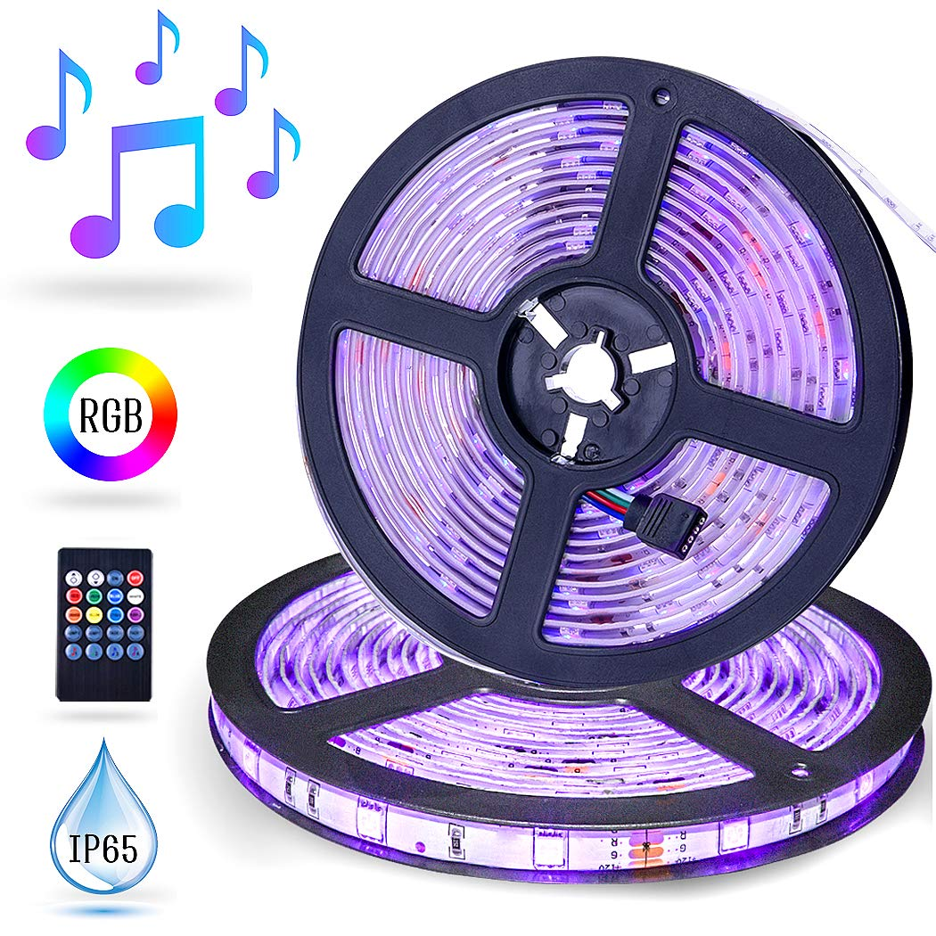 LED Strip Lights Music Sync, ESEYE 32.8ft IP65 Waterproof Flexible Self Adhesive Sound Activated RGB 300 LED Tape Light Neon Mood Lights Strip kit for Room Festival Illumination TV with Remote 12V 5A