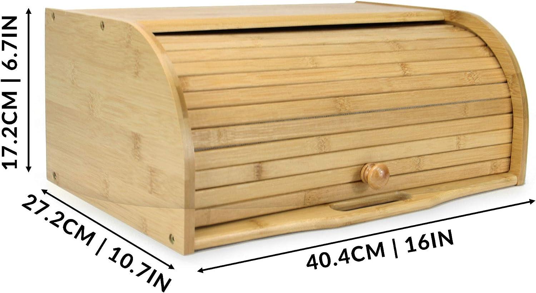 Bambus Brotkasten Roll-Top Brotkasten H/ölzerner K/üchenvorratsbeh/älter M/&W