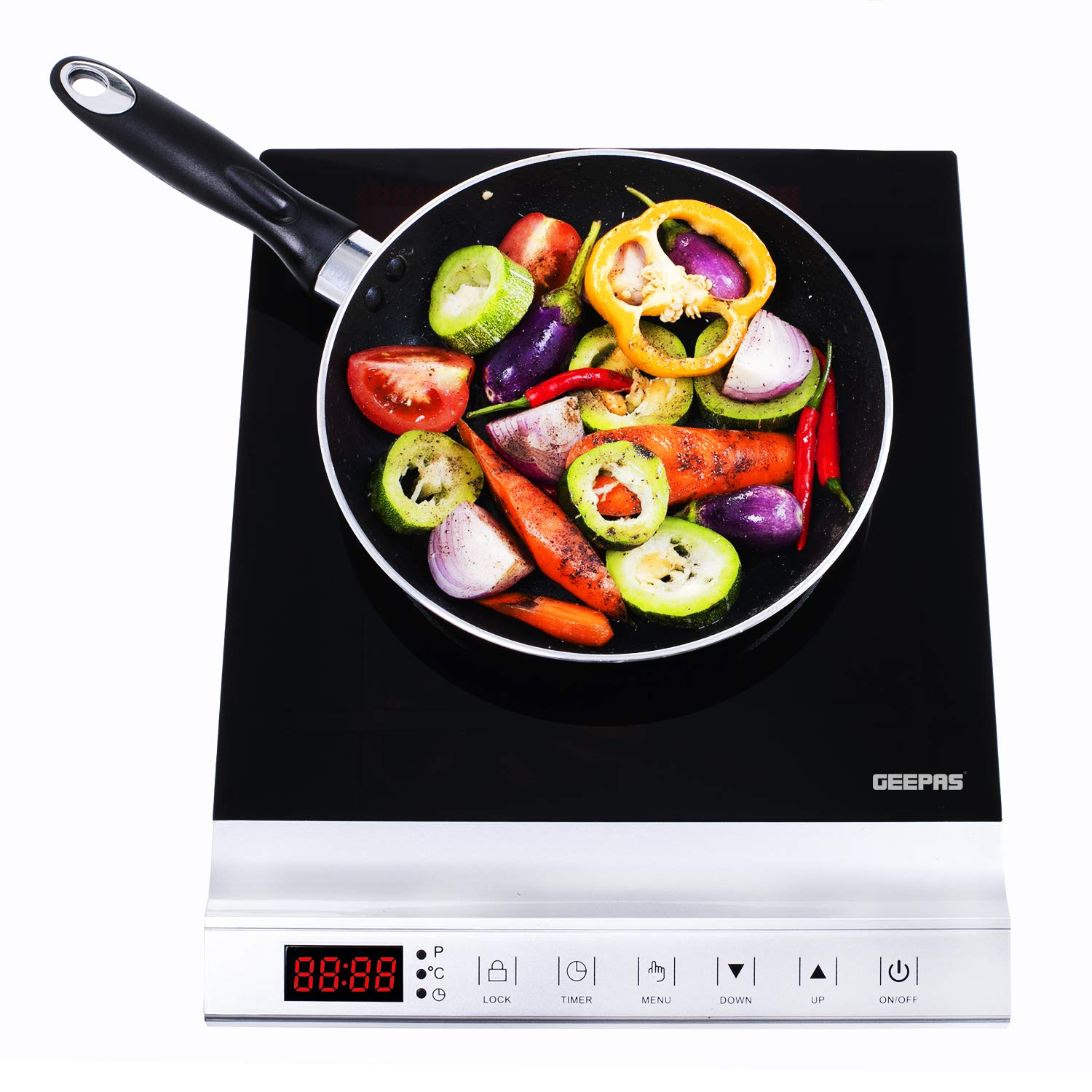 Geepas 2000W Programmable Induction Cooker for Fast and Precise Cooking – with Touch Control, LED Display, 10 Power Levels and Child-Lock Protection - 2 Years Warranty