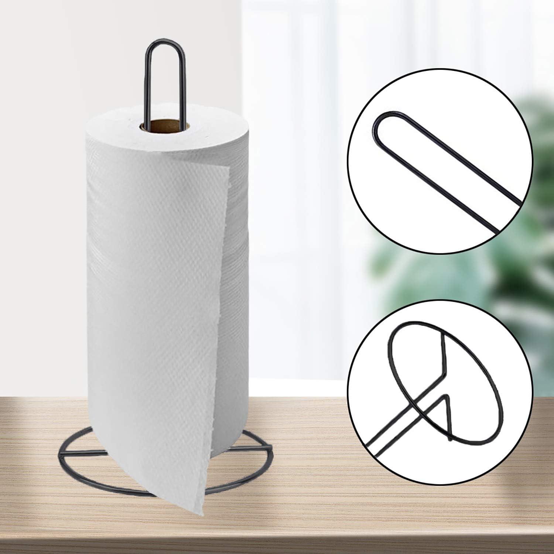Soporte para rollos de cocina sal/ón dormitorio comedor 29,5x13,5 cm soporte para papel de pie negro cuarto ba/ño para cocina soporte para papel de acero inoxidable