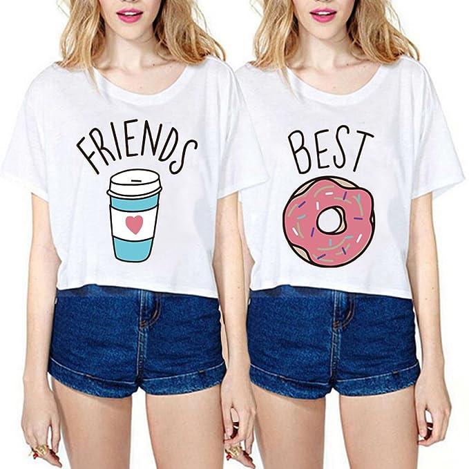 Mejores amigos camisetas para mujeres 2 piezas impresión Donas y ...