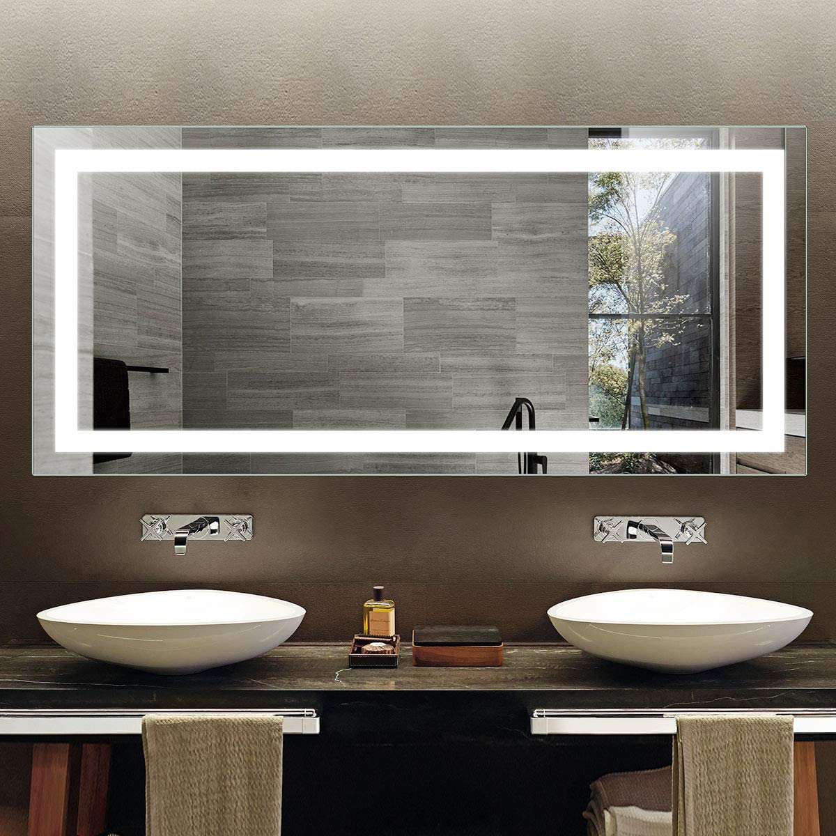 DP Home Illuminated Bathroom Mirror, Wall Mounted Frameless Vanity Mirror with Infrared Sensor, 71 x 32 in E-CK010-AG