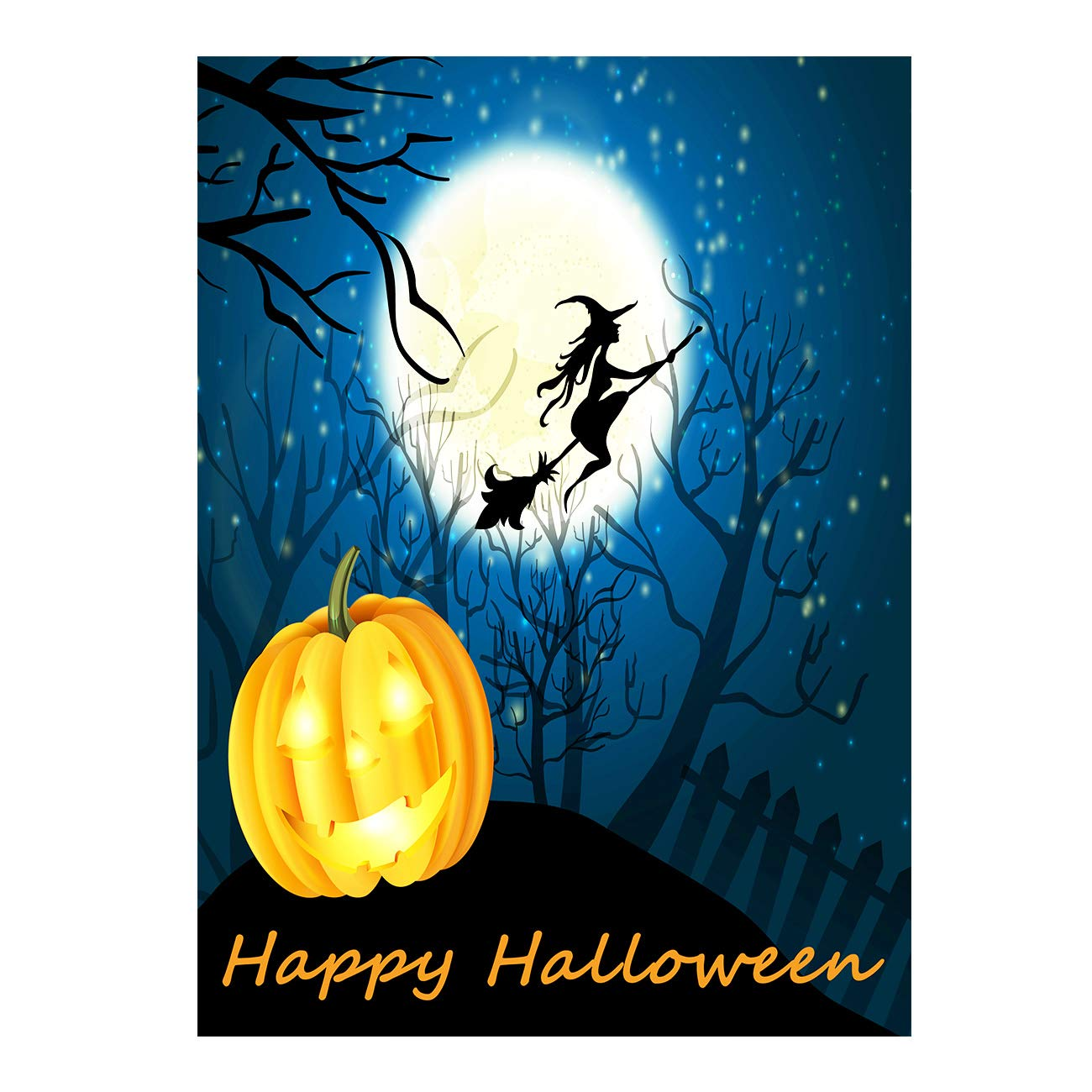 Happy Halloween Witch Pumpkin Jack o Lantern Castle Double Sided Garden Yard Flag 12'' x 18'', Winter Snow Moon Fall Festive Pumpkins Decorative Garden Flag Banner for Outdoor Home Decor Party