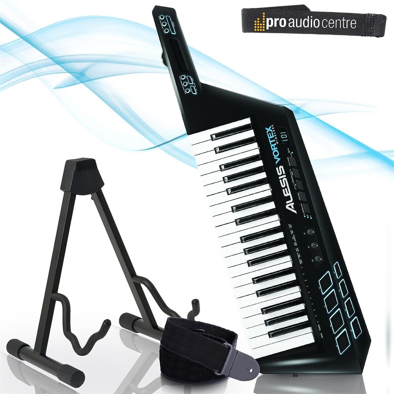 Alesis Vortex Keytar MIDI USB inalámbrico de piel y protector de teclado a juego y soporte para guitarra