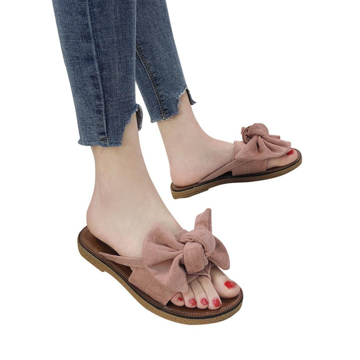 KESEELY Clearance Beach Shoes, Women Flat Heel Sandals Slipper Bow tie Round Toe Casual Flat with Sandal (US:7.5, Pink)