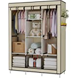 UDEAR Portable Wardrobe Closet Clothes Organizer Non-Woven Fabric Cover with 6 Storage Shelves, 2 Hanging Sections and 4 Side