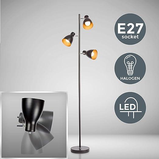 Bk Licht Lampadaire Led Vintage Lampe A Pied Design Retro 3 Spots Orientables Ampoules E27 Led Ou Halogene Hauteur 166 5 Cm Metal Noir Dore