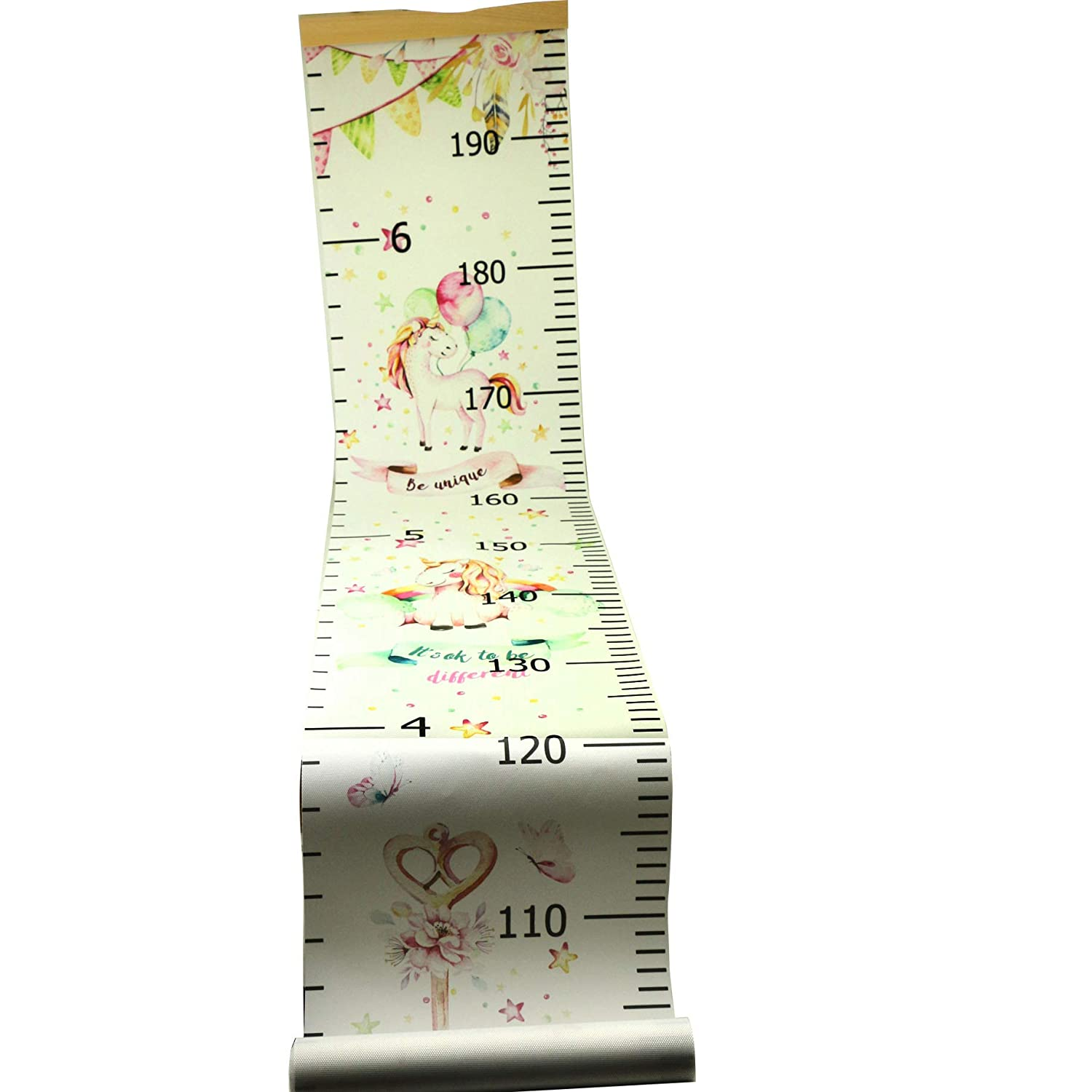 WBTY Baby Growth Chart Childs Height Chart Cute Unicorn Patterns Height Measuring Hanging Ruler Wall Decoration Removable Height and Growth Chart