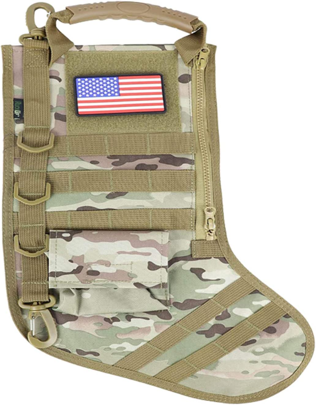 TLoowy-Clearance Tactical Christmas Xmas Stocking W//Handle Gift for Veterans Military Patriotic and Outdoorsy People Perfect Mantel Decoration
