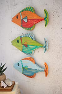 Kalalou Three Painted Wooden Fish Wall HANGINGS