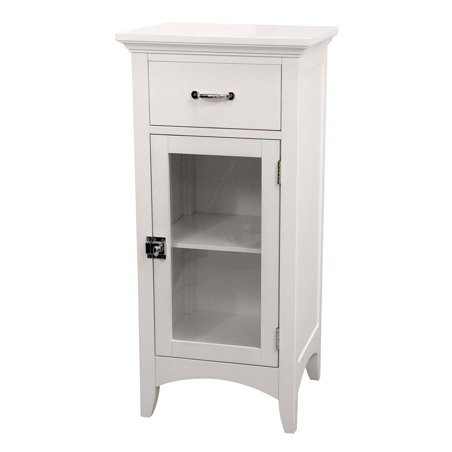 Elegant Home Fashions Madison Collection Shelved Floor Cabinet with Drawer, White