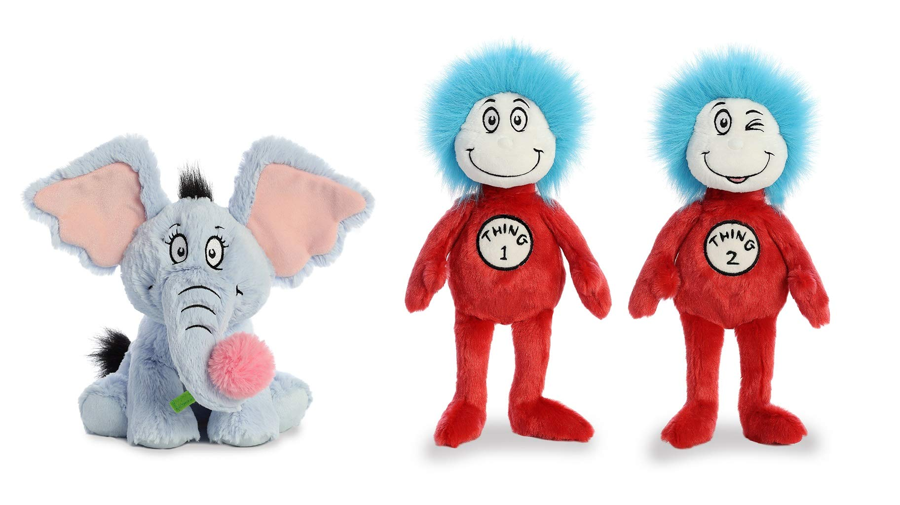 Aurora Plush Bundle Set of 3 Cat in The Hat Toys - Dr Seuss Toys Cat in The Hat Stuffed Plush Toys 12'' Thing 1 & Thing 2, and 12'' Horton Hears a Who Plush Elephant by RfR Bundles