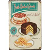 UNIQUELOVER Fresh Baked Goods Best in Town Retro Vintage Metal Tin Signs Poster Wall Art Pub Bar Decor 12 X 8