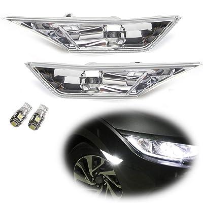 iJDMTOY JDM Clear Lens White LED Bulb Front Side Marker Light Kit Compatible With 2016-up Honda Civic Sedan/Coupe/Hatchback, Replace OEM Amber Sidemarker Lamps: Automotive