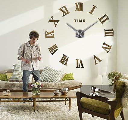 Amazon.com: Frameless 3D DIY Silent Wall Clock Mirror Surface ...
