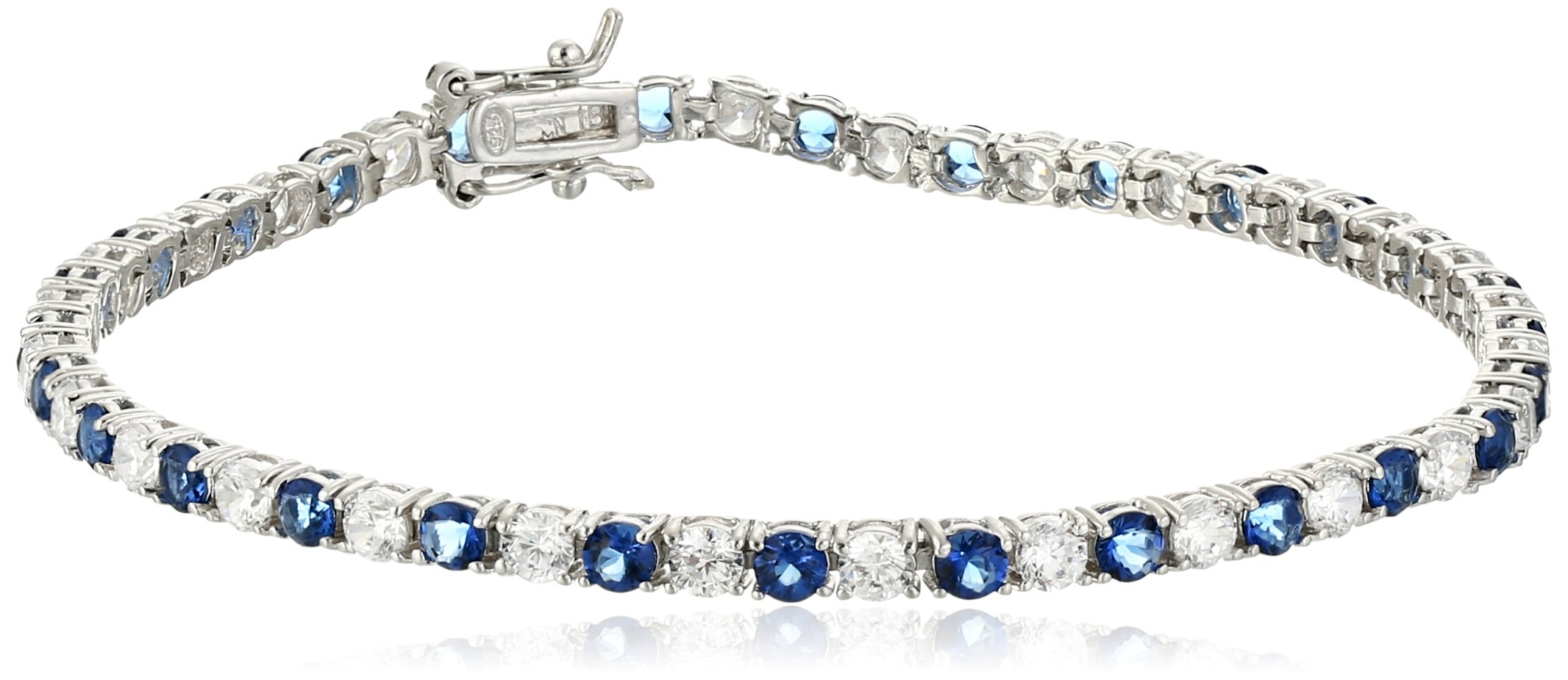 Sterling Silver Alternating Sapphire and White Prong Set AAA Cubic Zirconia Tennis Bracelet, 7.5'' (5.9 cttw)