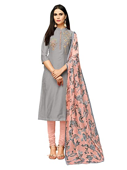 7e04a57f2c AKHILAM Women's Chanderi Cotton Semi-Stitched A Line Salwar Suit Salwar Suit  Material with Dupatta (Grey_Free Size): Amazon.in: Clothing & Accessories