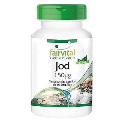 fairvital - 180 comprimidos de yodo - Altamente concentrado (150 µg) - De yoduro