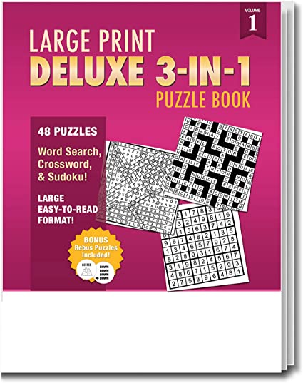 Amazon.com: 25 Pack: Large Print 3-in-1 Puzzle Books For Seniors - Large  Print Word Search Books In Bulk For Adults - Large Print Puzzle Books For  Seniors - 48 Word Search, Crossword