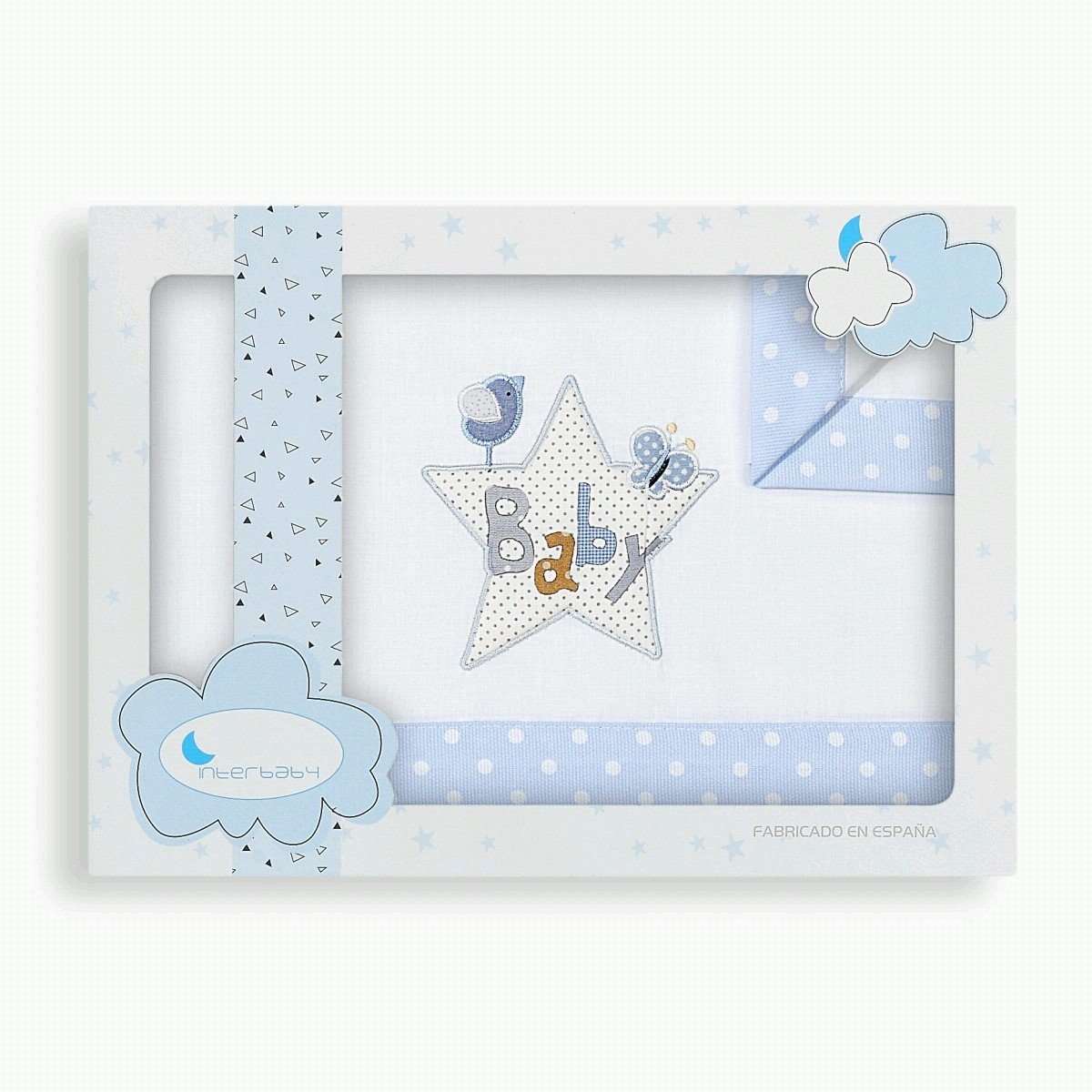 S/ábanas Minicuna Baby Blanco Azul