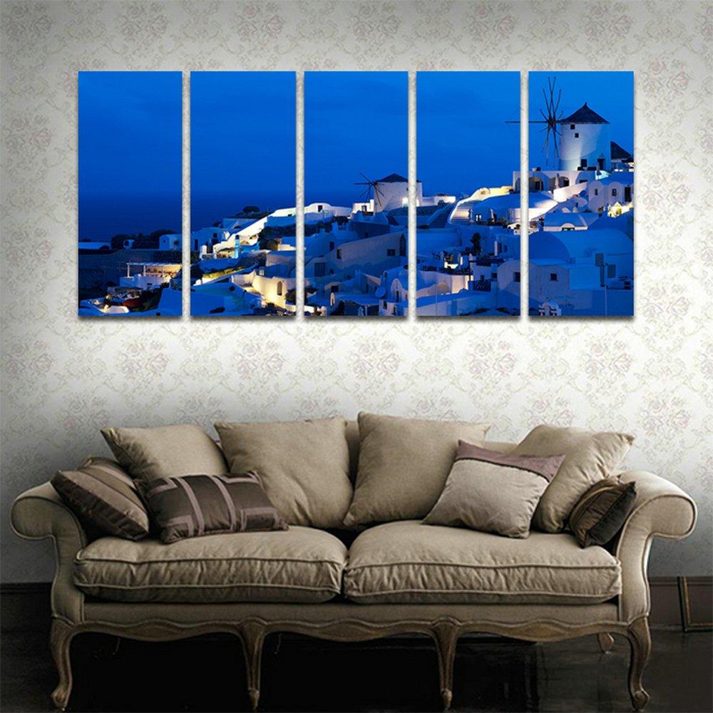 CyiohArt 5パネル アートパネル 「サントリーニ島の町」 壁掛け 風景写真の壁の写真を絵画 キャンバス絵画 ホームデコレーション用 (69インチx32インチ、木枠付きの完成品) B0784LMSNT木枠付きの完成品 35cmx80cmx5