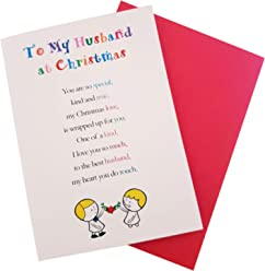 to My Husband at Christmas - Cute Christmas Luxury Greetings Cards by Clarabelle Cards 5 x 7 inches