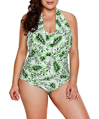 86b0aba9c76 JooMeryer Women's Plus Size Leaf Printed Halterneck One Piece Swimsuits ,Green,XXL(US
