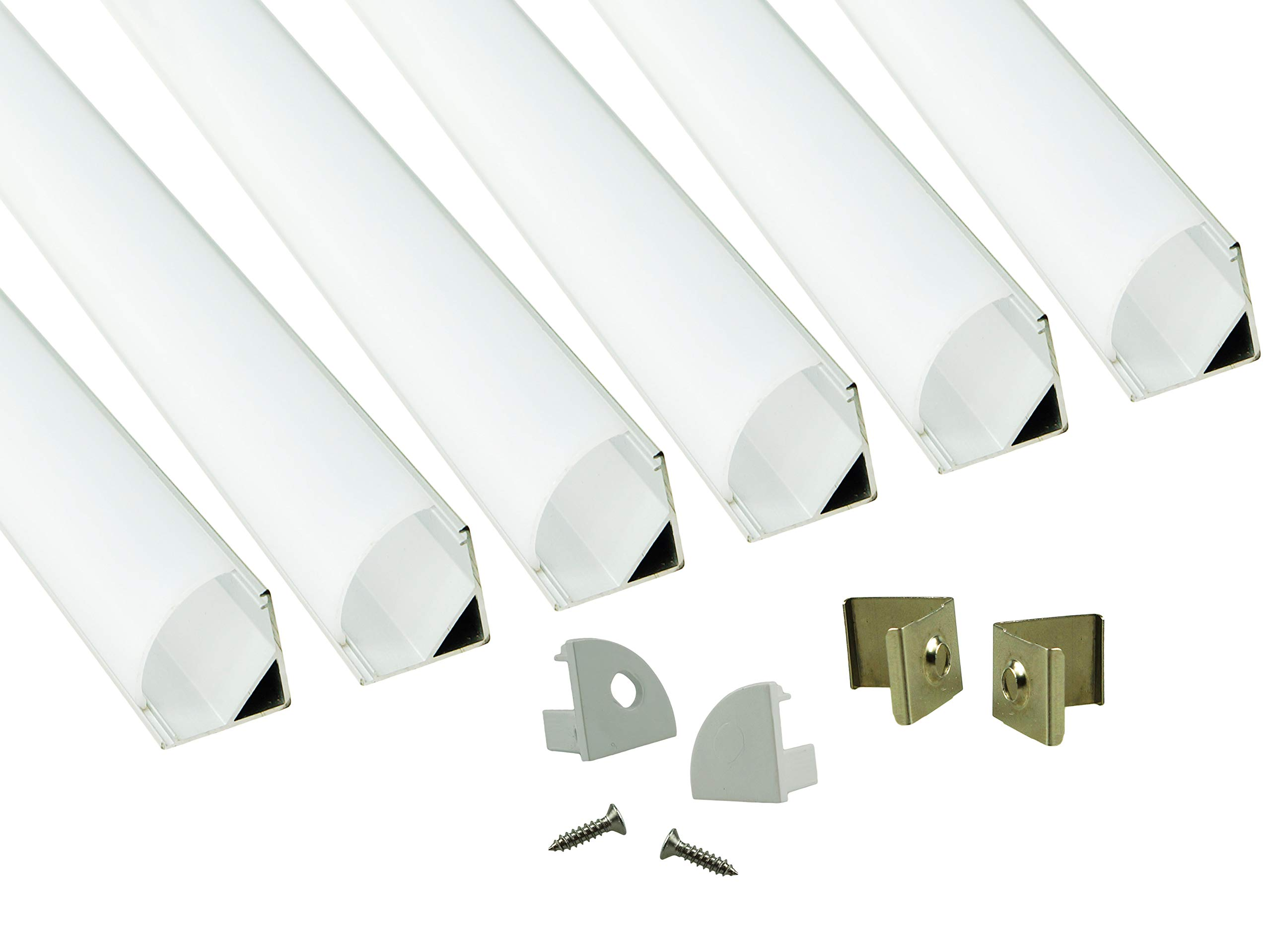 Muzata 6PACK 1M/3.3ft V-Shape LED Aluminum Channel System with PC Cover, Complete Mounting Accessories,Suit For 3528, 5050 & 5630 Strip Lights Installation