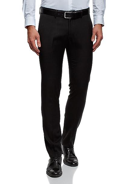 oodji Ultra Hombre Pantalones Slim con Acabado de Raso ZCcw16Rk