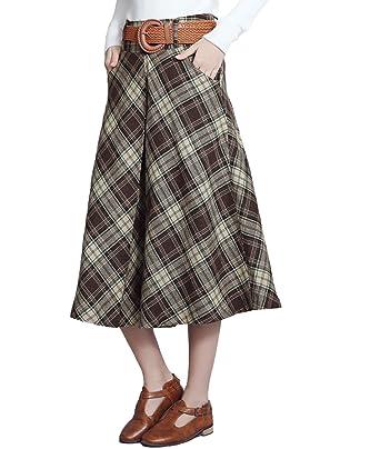1d12671851 Femirah Women's Autumn Winter Midi Long Woolen Skirt A Line Pleated Skirt:  Amazon.co.uk: Clothing