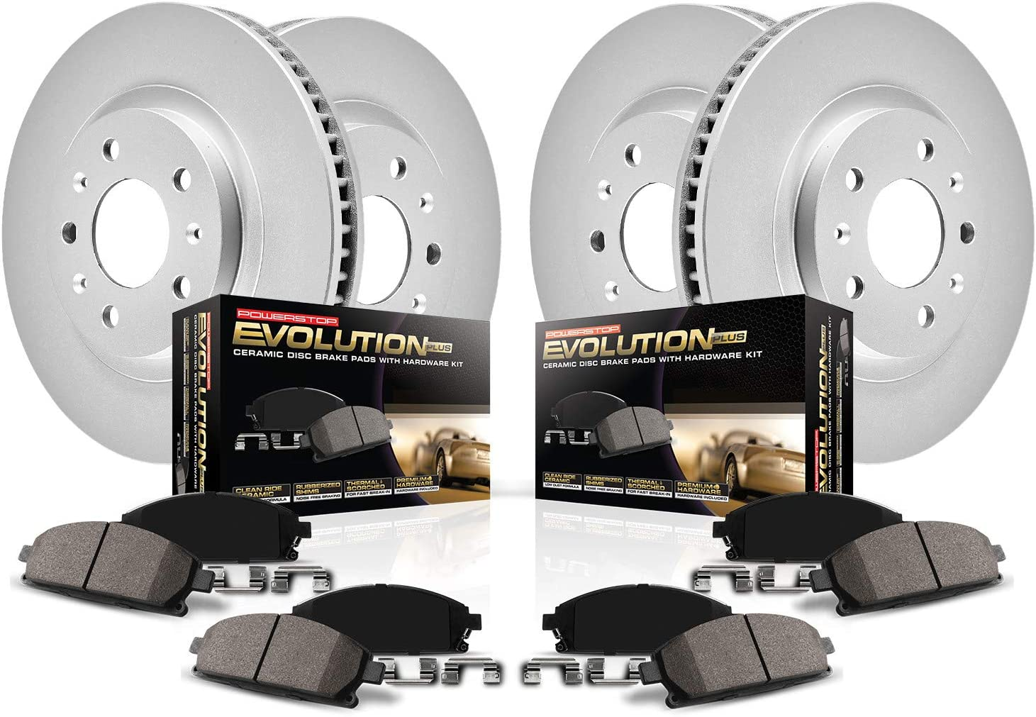 Power Stop CRK444 Coated Brake Rotor and Ceramic Brake Pads Front /& Rear
