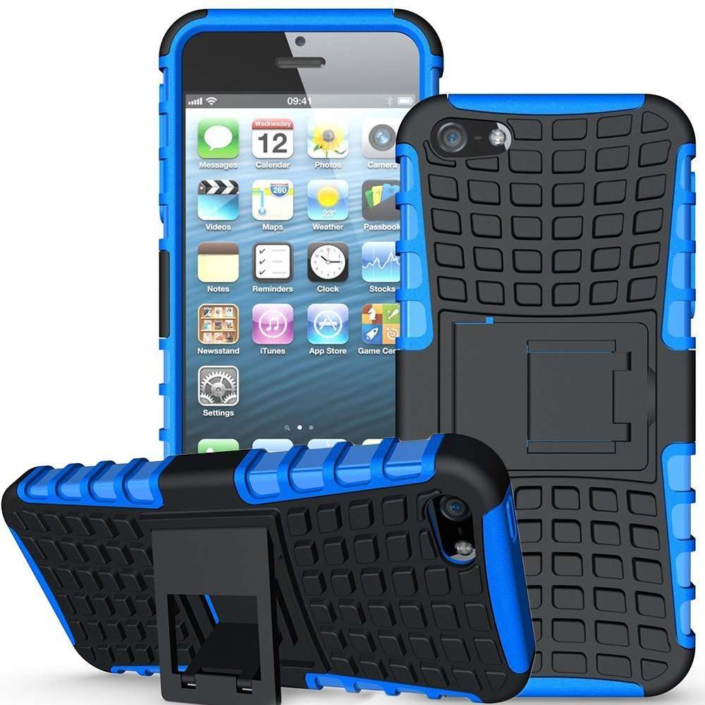 Apple iPhone 5/5S/SE Case,K-Xiang [with Built-in Kickstand] Armor Heavy Duty Rugged Dual Layer Hybrid Shockproof Case Protective Cover for Apple iPhone 5 5S SE (Black) Kang Xiang