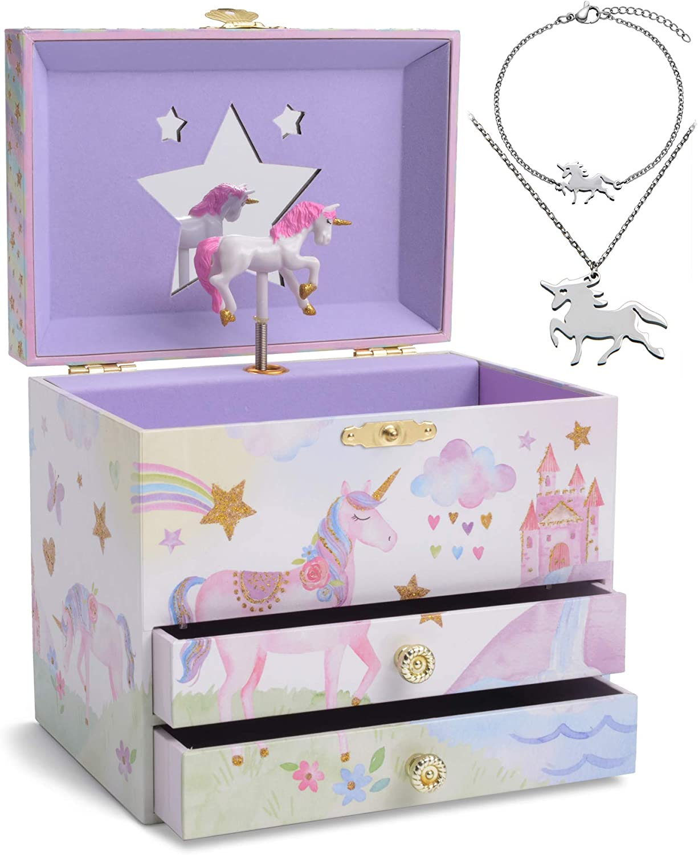 Jewelkeeper - Caja Musical Unicornio y Juego de Joyas de niñitas - 3 Regalos de Unicornio para niñas