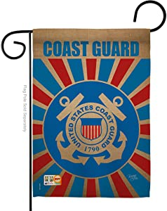 "Breeze Decor Coast Guard Americana Military Veteran Decorative Gift Vertical 13"" x 18.5"" Double Sided Garden Flag Made in USA"