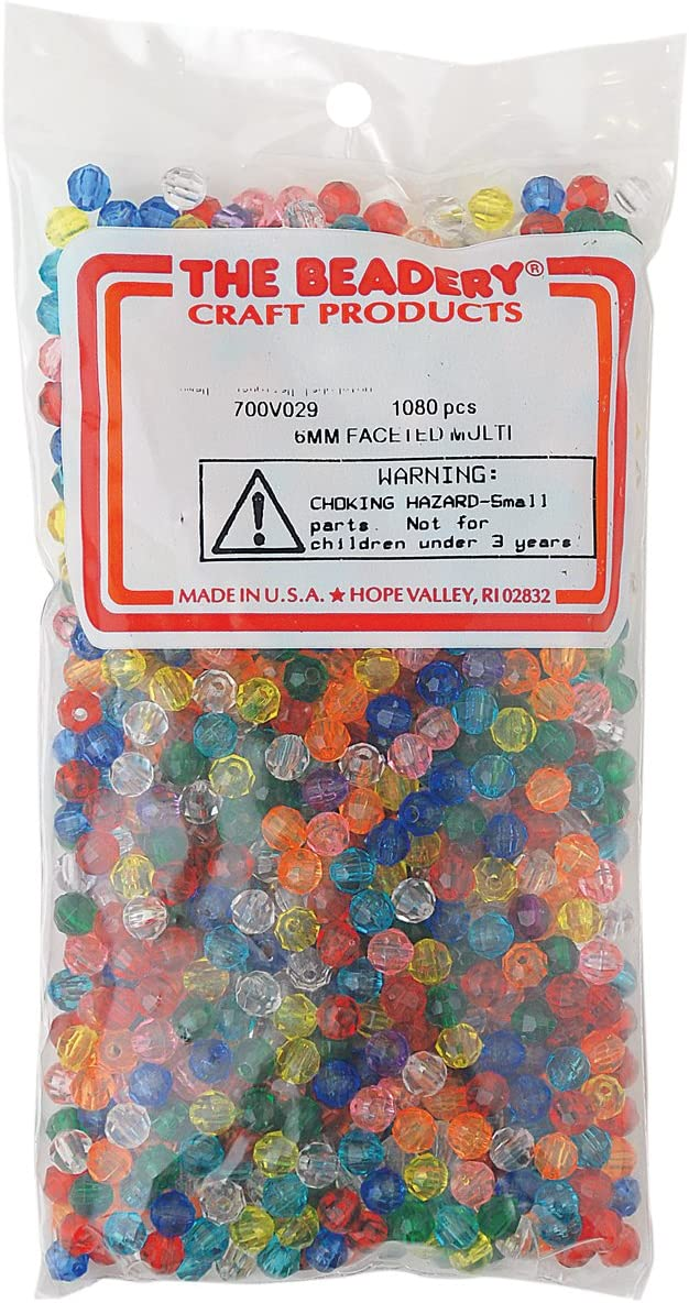 The Beadery 6mm Faceted Bead 1080-Piece Multi
