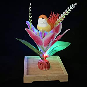 FLORAL CABIN Artificial Lily Flowers Foam Birds Decorations with Multicolor Changing Led Lights for Sushi Dinner Table Flower Centerpieces Wedding Home Décor,Orange