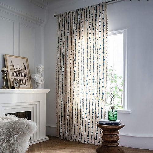 JAIJY Blue Watercolor Geometric Ticking Vertical Striped Boho Window Curtain