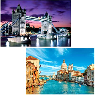 2020 Jigsaw Puzzles 2 Set, 1000 Piece Jigsaw Puzzle for Kids Adult Educational Jigsaw Puzzles Intellective Educational Toy Home Decor (London Bridge and Venice): Arts, Crafts & Sewing