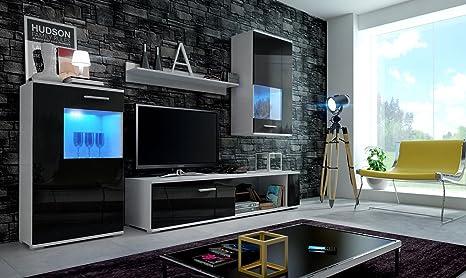HomeDirectLTD Moderno Conjunto de Muebles de salón Eve (Cuerpo Blanco Mate/Puertas Negro brilo, sin LED)