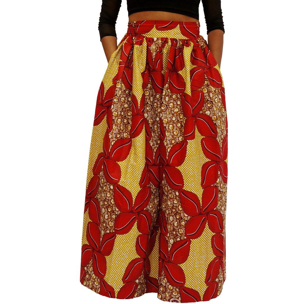 African Wax Print Maxi Skirt Ankara/ Kitenge - Red Senghori- 27'' waist-medium