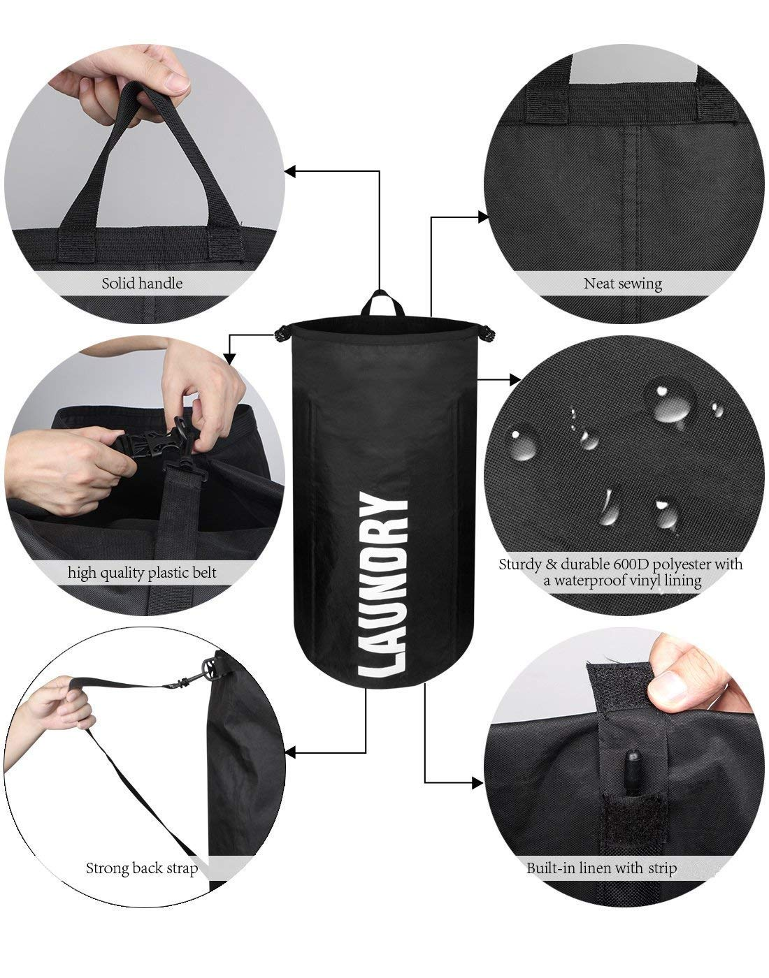 WOWLIVE Large Laundry Bag Laundry Backpack Hanging Laundry Hamper  Adjustable Shoulder Straps Camping Bag Waterproof Durable ... f24866ef76cba