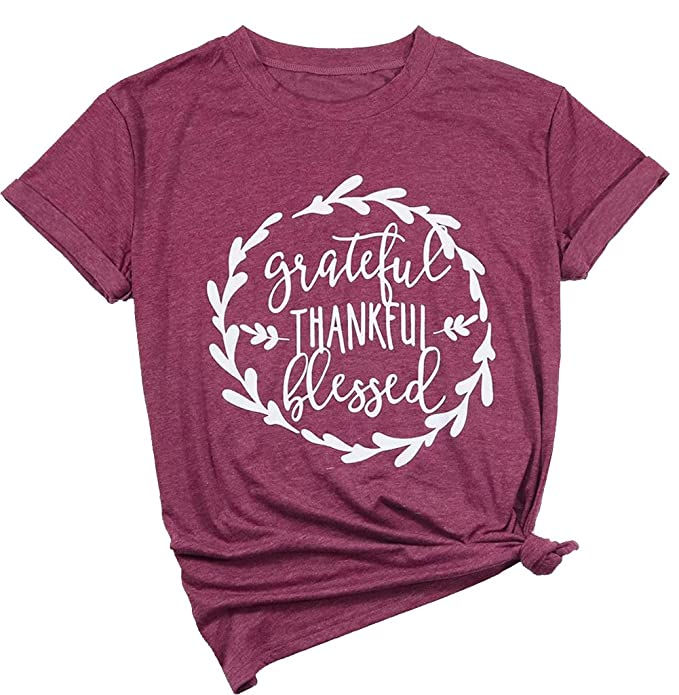 a029f2020 Amazon.com: JINTING Grateful Thankful Blessed Tee Shirt for Women Graphic  Tee Shirts Short Sleeve Letter Print Tee T-Shirt: Clothing